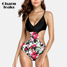 Charmleaks Womens One Piece Hollow Waist Swimwear Vintage Floral Print Swimsuit Bandaged Bathing Suit Sexy Monokini
