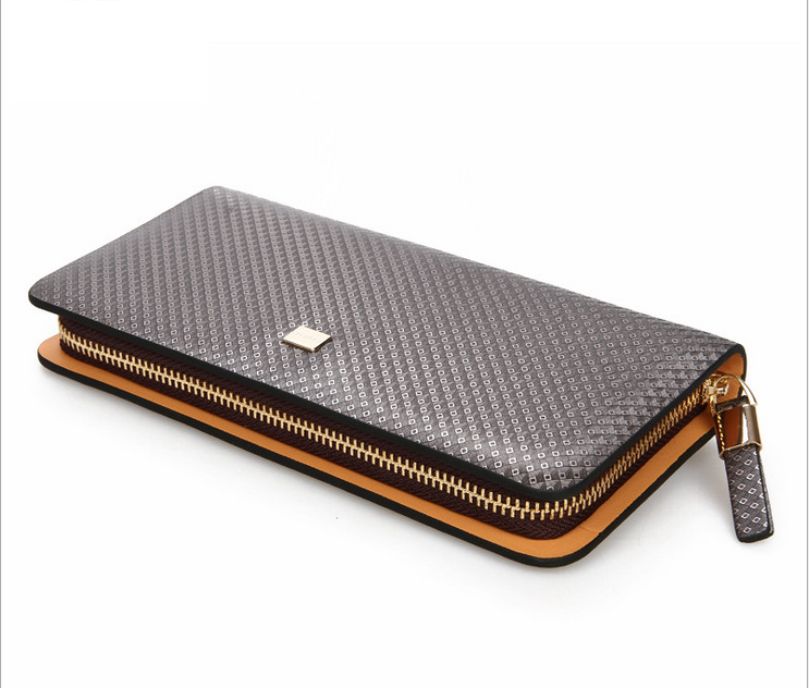 ФОТО 100%Genuine Leather wallet mans Diamond pattern business long pouch casual Clutch coin purse holder  clip free ship