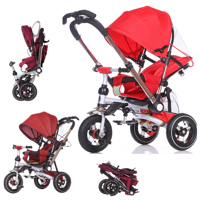 Convertible Push Handle Baby Tricycle Stroller Riding Bicycle Car Travel System Folding Sit Flat Lying Child Trike Baby Carriage children s tricycle childs vehicles with push push folding bicycles baby bicycles child bicycles