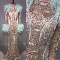 Luxury Glisten Gold Rhinestones Dress Flashing Sexy Stage Wear Long Dresses tassel feather Costume Celebrate Outfit Dresses