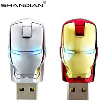 SHANDIAN de moda de hombre de hierro vengadores LED Flash USB Flash drive memoria USB Pendrive 4gb 16gb 32gb 64 gb g metal colgante usb creativo(China)
