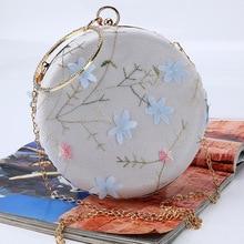 new evening round handbag chain embroidery bag clutch night club party casual leisure handbags
