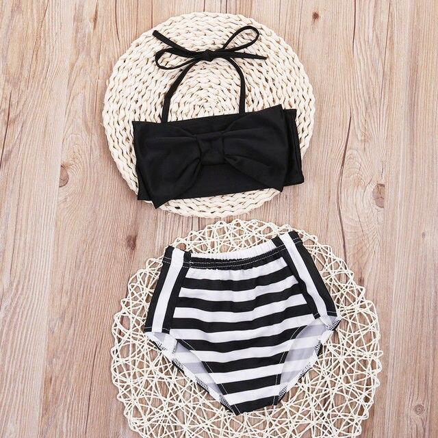 4d605704c77 Cute Baby Kids Girl Striped Bandage Bow High Waist Bikini Set Swimwear  Swimsuit Bathing Suit Swimming