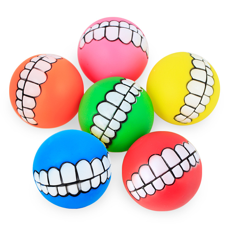 Funny Pets Dog Puppy Cat Ball Teeth Toy PVC Chew Sound Dogs Play Fetching Squeak Toys Pet Supplies 1