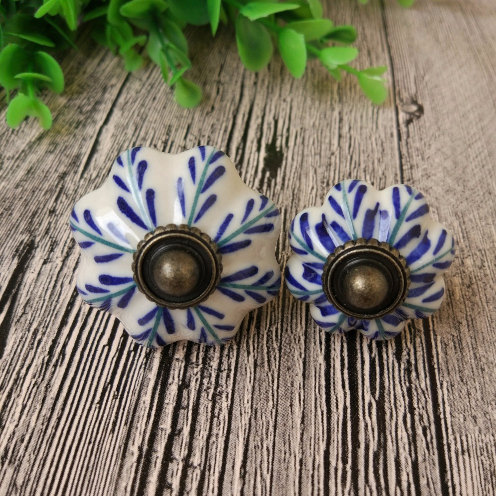 6pcs Chinese Porcelian Hand Painted Ceramic Pumpkin Knobs for Bedroom Cupboard Cabinet  Door Drawer Furniture Handle Pulls candy color bear ceramic drawer handle for children lovely furniture fittings