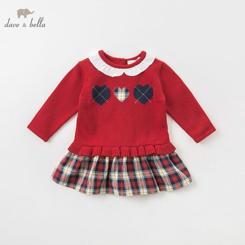 DB8975 dave bella baby girls dress Long sleeve autumn dresses kids girls dress children birthday party