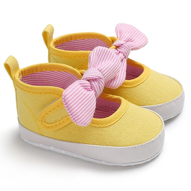 Baby Shoes Classic Canvas Bow Cotton Baby Girl Shoes First Walker Fashion Stripe Cute Baby Girl Shoes Newborn Baby's First Walkers