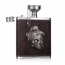 Gothic 7oz Stainless Steel and PU leather Hip Flask