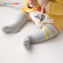 SLKMSWMDJ spring and autumn new curling baby stockings cotton striped over the knee suitable for 0-3 years old