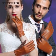 Erwachsene Echte Lederne Handschuhe Weibliche Winter Wolle Touchscreen Handschuhe Weibliche Schafe Haut Leder Handschuhe Weibliche und Männliche B-3747-B