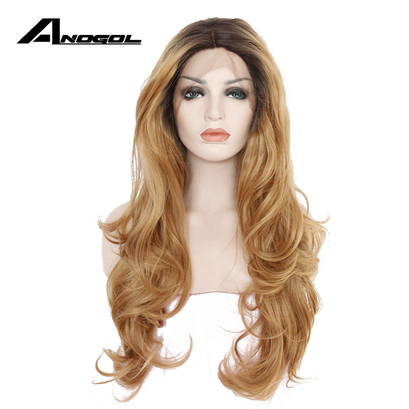 Anogol High Temperature Fiber Perucas Cabelo Frontal Wig Deep Brown Ombre Blonde Long Loose Wave Synthetic Lace Front Wigs