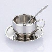 Высококачественная кофейная чашка из нержавеющей стали, блюдце и ложка, набор кофейных чашек из нержавеющей стали с двойными стенками