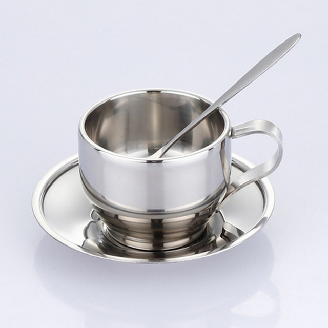 High Quality Stainless Steel Coffee Cup Saucer And Spoon Set Double Wall Cups