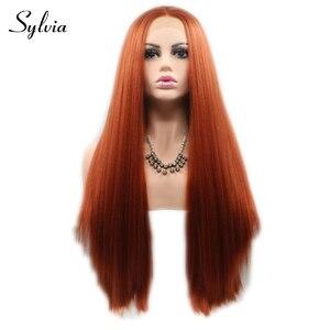 ¡Novedad del 360! pelucas frontales de encaje sintético liso Yaki marrón rojo # pelucas naturales de fibra resistente al calor sin pegamento para mujer