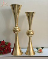74CM Height Gold Vases Metal Candle Holders Candlesticks Wedding Centerpieces Event Flower Road Lead Home Decoration 10 PCS/ Lot