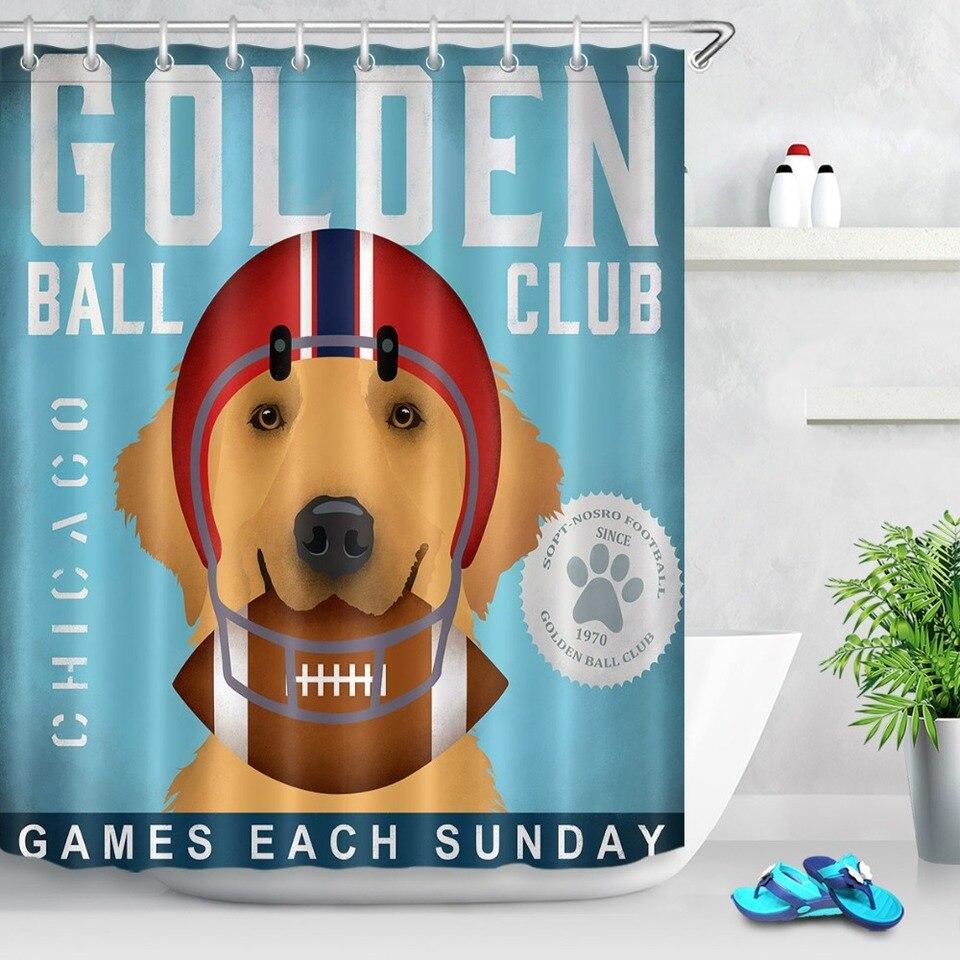 Golden Retriever Shower Curtain Smiling Dogs Print for Bathroom