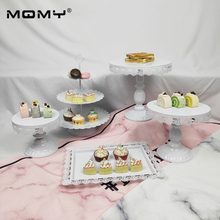 5 Pcs Thin Disk Wedding Cupcake Gold Metal Crystal Plate Wholesale White Tier Set Round Pink 3 Tire Cake Stand