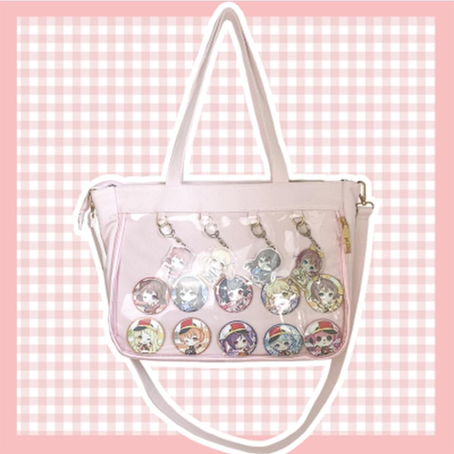 Harajuku Color Clear itbag Transparent Jelly Canvas Shoulder Messenger Bag Women Handbag Shopping Bag Animation Storage 2019 алиэкспресс сумка прозрачная