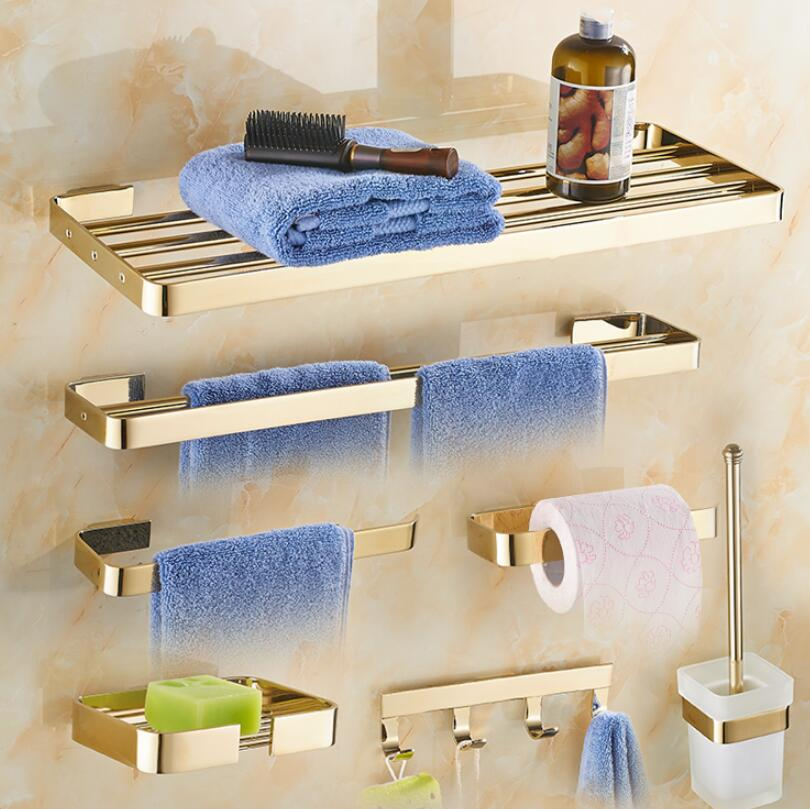 Newly Brass Bathroom Accessories Set Gold Square Toilet Brush Holder Paper Holder Towel Bar Towel Holder