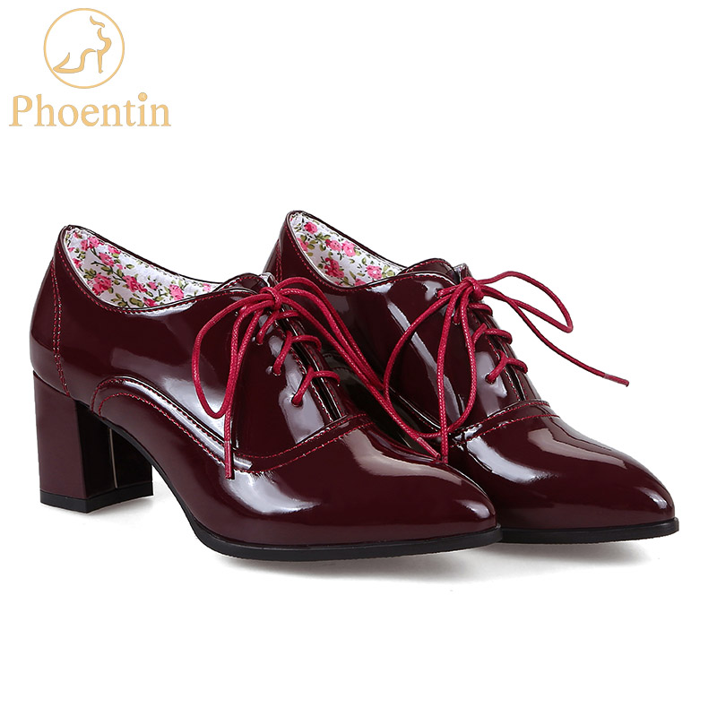 Phoentin wine red lace up women pumps heel shoes pointed toe office concise women heels flower insole shoes large size 48 FT287 lucky lace up long sleeve layered women s wine red romper