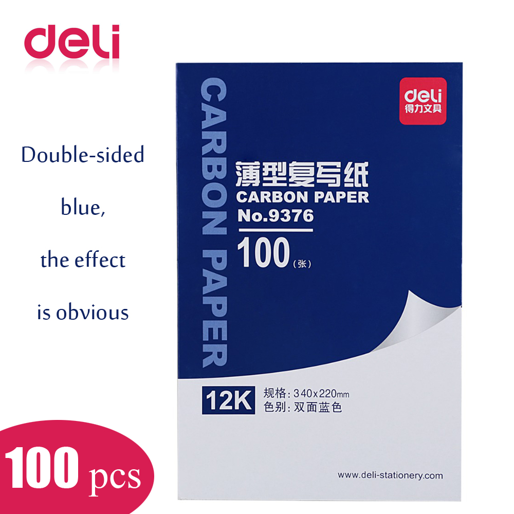 Deli 9376 A4 Double Side Blue Carbon Paper 100 Sheets/set Include Three Red Sheets Financial Supplies 34cm*22cm Blue