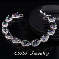 Cwwzircons مكون سوار مجوهرات الكمثرى الشكل فاخر متعدد الألوان cz العنقودية أساور للبنات أو الأمهات هدية CB120