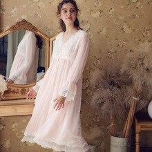 Women Sleepwear 2019 New Palace Wind Simple Sleeping Dress Sweet Lace Cotton Embroidery Long Nightdress Female Home wear HLZ31