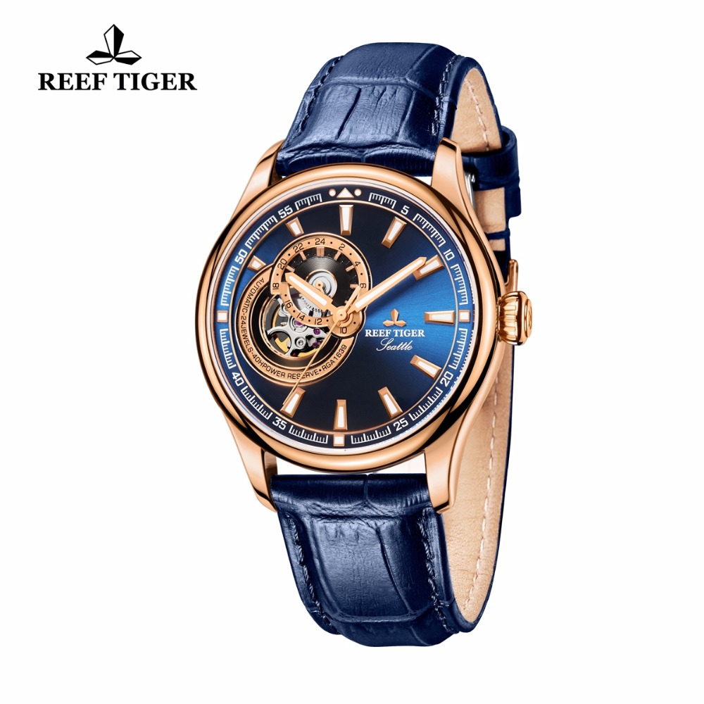Reef Tiger / RT Dress Herenhorloge Rose Gold Tone Tourbillon Horloges - Herenhorloges - Foto 5