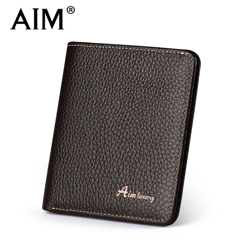 AIM Brand Genuine Leather Men Wallet Fashion Thin Small Wallet Vintage Male Short Purse Cowhide Leather Wallets Card Holder Q205 dalfr genuine leather mens wallets card holder male short wallet 6 inch cowhide vintage style coin purse small wallet