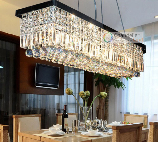 8 Bulbs L100 X W25 Cm Rectangle Clear Crystal Chandelier Rain Drop Design Flush Mount Lighting Pendant Lamp Dining Room