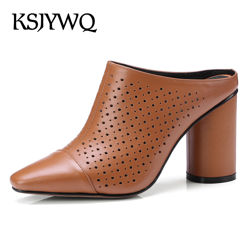 KSJYWQ Summer Style Women Mules 8.5 CM Chunky Heels Hollow Slippers Genuine Leather White Pumps Woman Shoes Box packing T4-3 ksjywq genuine leather flowers women sandals sexy exposed toe white shoes summer style clip toe shoes woman box packing a2571