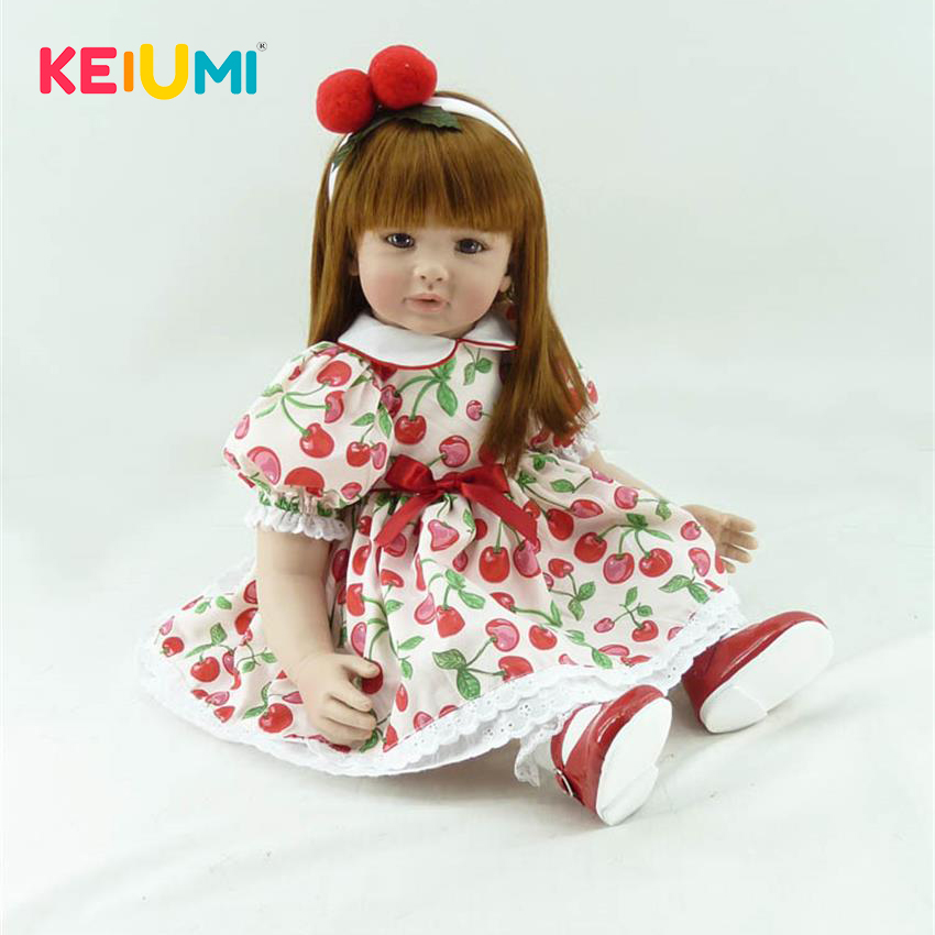 KEIUMI 24'' Reborn Baby Girl Realistic Princess DIY Toys 60cm Silicone Doll Baby Alive Kids Playmate PP Cotton Body Reborn Dolls adorable soft cloth body silicone reborn toddler princess girl baby alive doll toys with strap denim skirts pink headband dolls