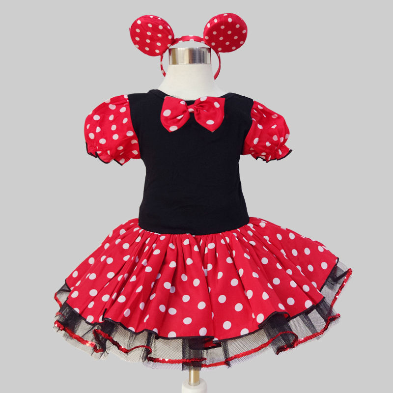 2017 Kids Gift Minnie Mouse Party Fancy Costume Cosplay Girls Ballet Tutu Dress+Ear Headband Girls Polka Dot Dress Clothes Bow