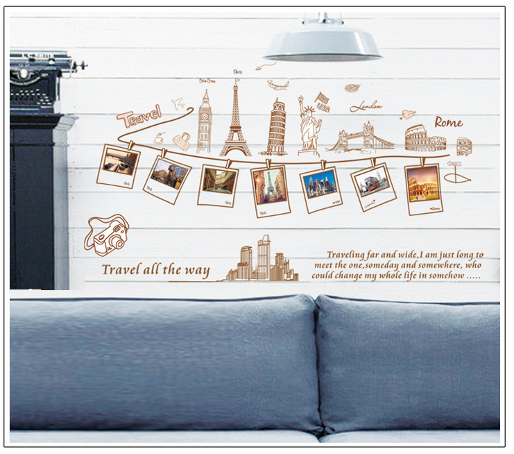 Aliexpress Com Buy Wall Stickers Travel Around The World Decoration Wall Hangings Stickers Wall Stickers Home Decor Stickers Wall Poster 60 90cm From