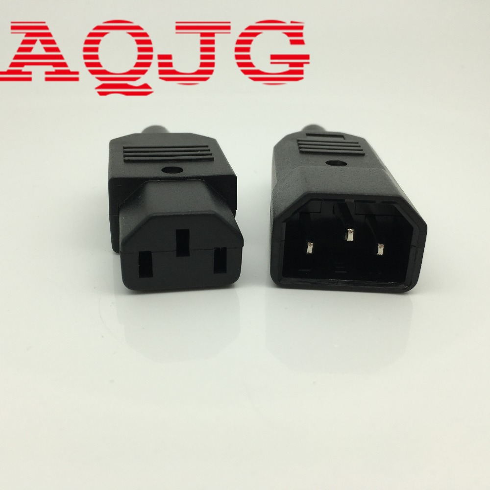 New  Black IEC C14 Male Plug Rewirable Power Connector 3-pin Socket 10A/250V C13 male C14 Female  1pair Power Inlet Socket AQJG 1 sets new 1pin 120a 600v power connector battery plug male