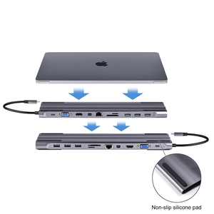 Image 3 - Baolyda USB C Dock Thunderbolt 3 מתאם 11in1 סוג C Hub עם HDMI RJ45 VGA USB3.0 כל באחד רכזת עבור macBook & C סוג מחשב נייד