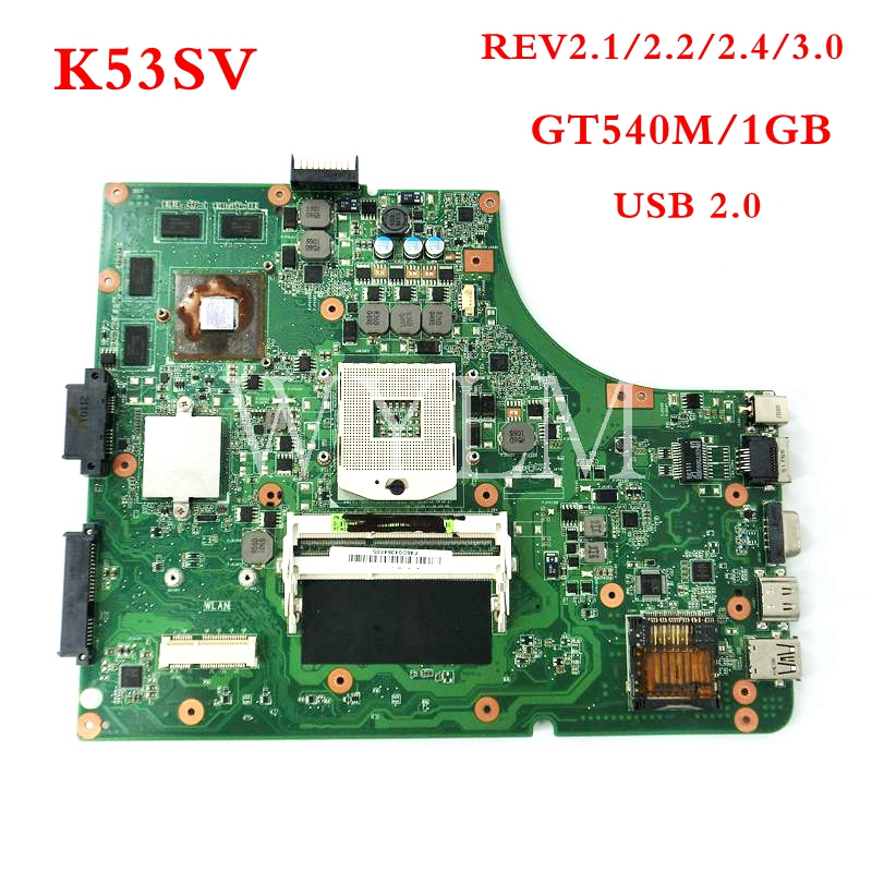 K53SV GT540M 1GB USB2.0 motherboard For ASUS K53S X53S A53S K53SV K53SJ P53S HM65 Laptop Mainboard 100% Tested free shipping