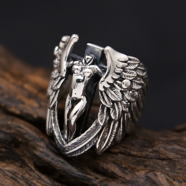 Gothic Punk Style Men Rings 925 Solid Sterling Silver Angle Wing