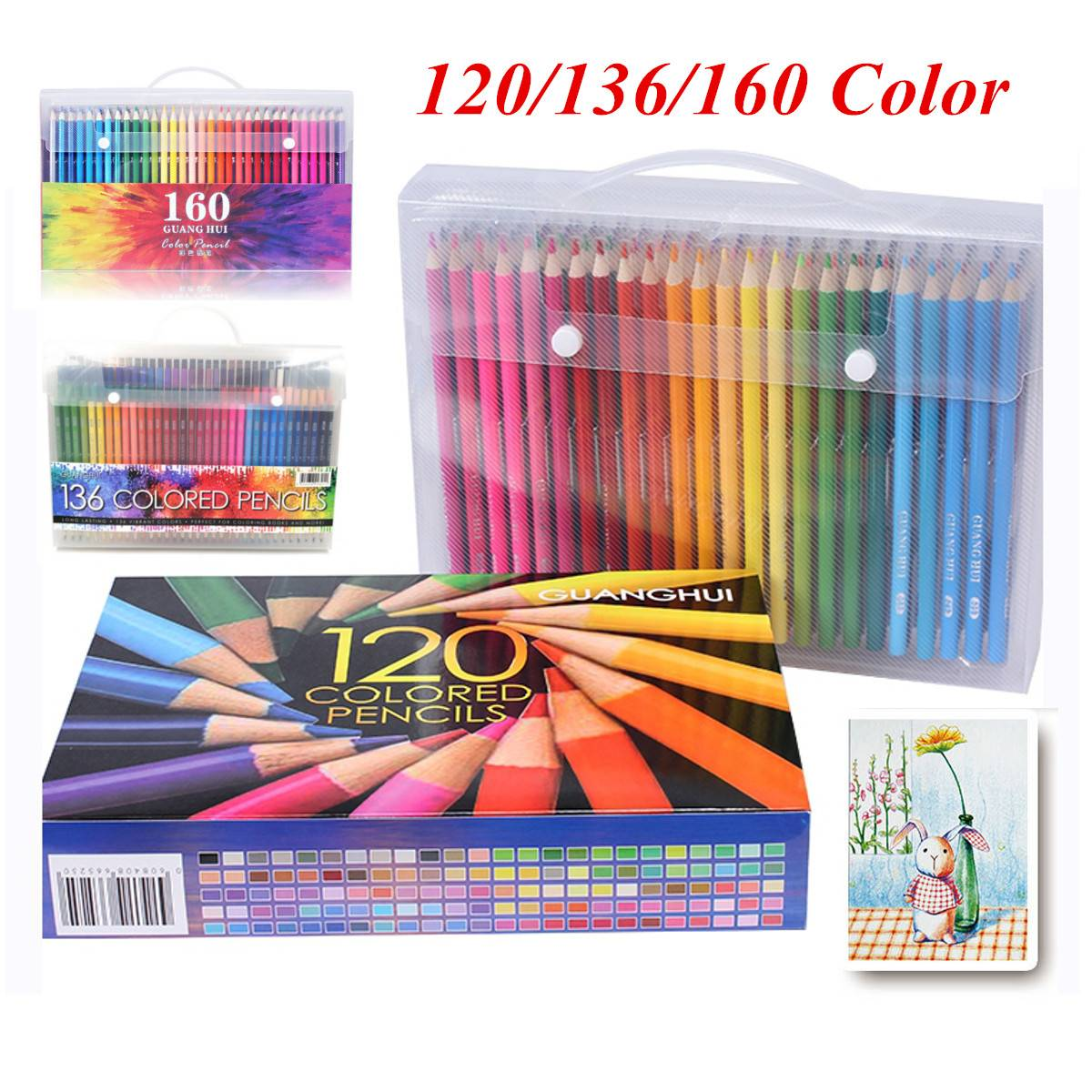 Professional Pencil Set Wood Colored Pencil Drawing Pencils For School Office Artist Painting Sketch Supplies 120/136/160 Colors