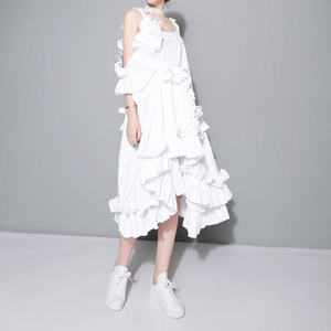 Image 3 - [EAM] 2020 New Spring  Irregular Multilayer Ruffles Solid Color Loose Fashion Sexy White Dress Women Trendy Tide J211