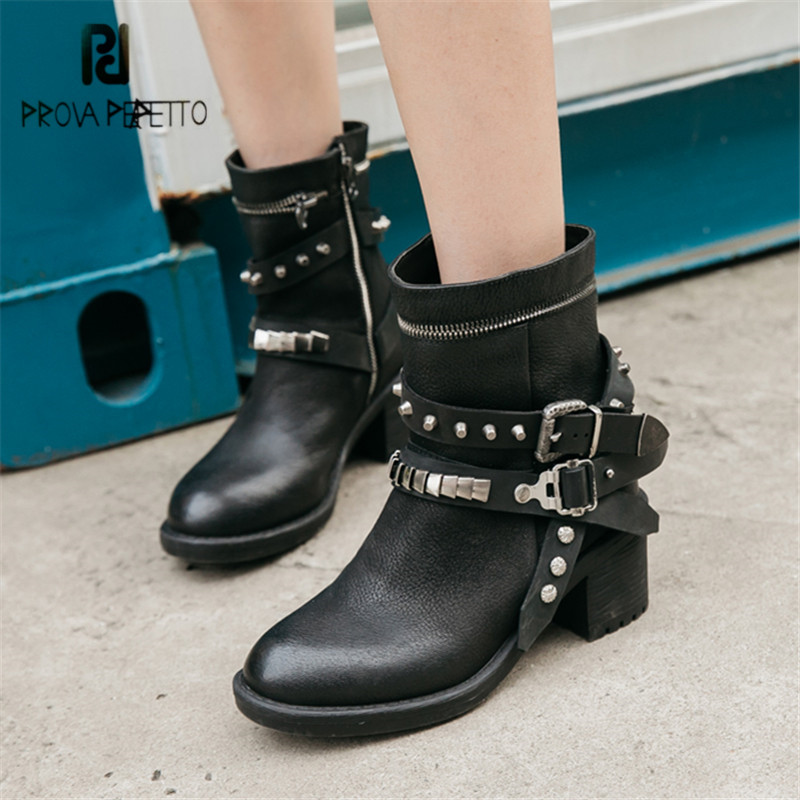 Prova Perfetto Black Women Ankle Boots Gladiator Straps Martin Boots High Heel Platform Rubber Shoes Woman Ladies Short Booties