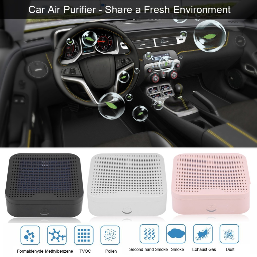 3 Colors Car Air Purifier Anion Ionizer Cleaner Freshner for Vehicle Home Office