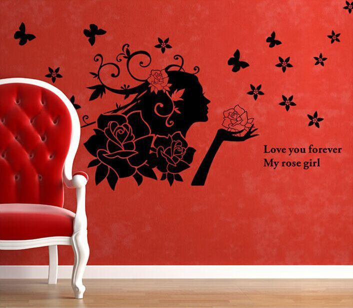 Romantic DIY Removable Vinyl Wall Stickers Black Rose Girl large