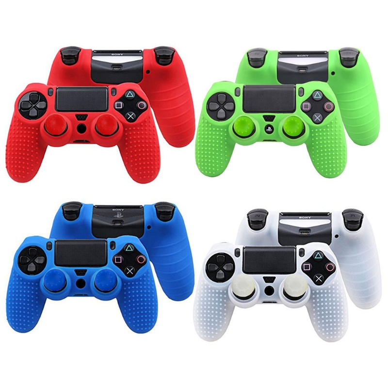 2 in 1 Studded Anti-slip Silicone Rubber Cover Skin Case for Sony PlayStation 4 PS4 DS4 Pro Slim Controller with 2 Caps