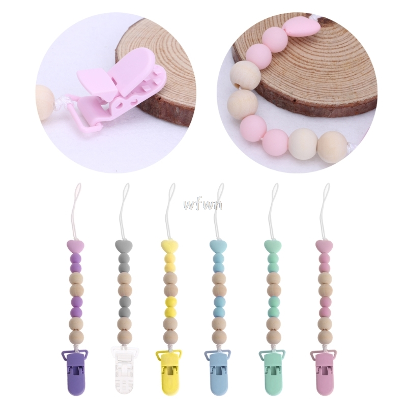 Wooden Bead Dummy Clip Holder Pacifier Clips Soother Chains Baby Teething Toy