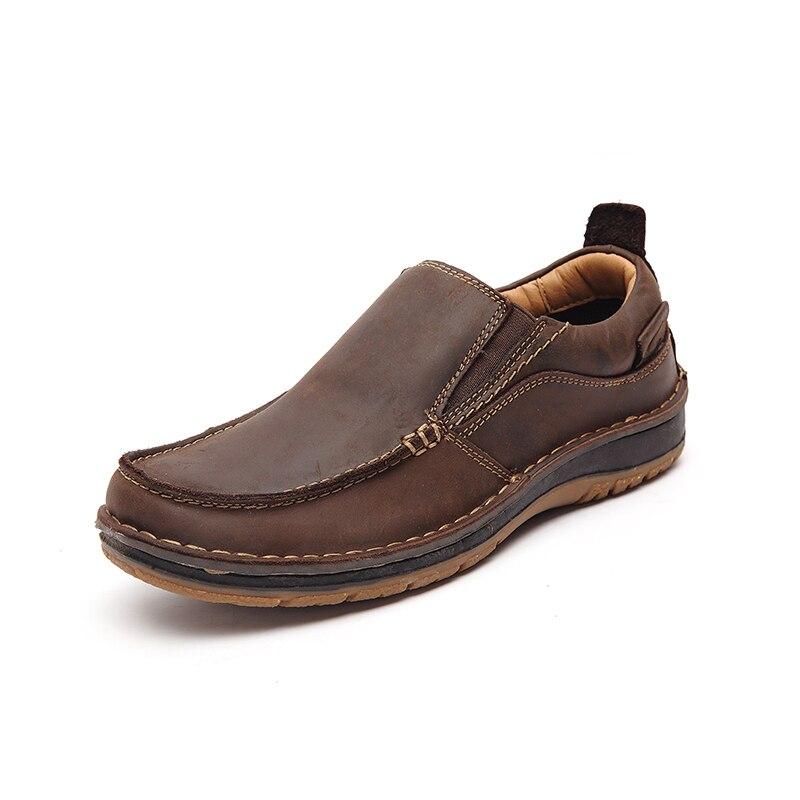 LINGGE/кожаная повседневная обувь; официальная Мужская обувь; лоферы; мужская кожаная обувь; слипоны; оксфорды; мокасины;#7287 - Цвет: brown
