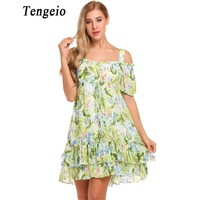 Tengeio Women Summer Cold Shoulder Boho Dress Lantern Short Sleeve Dandelion Print Cascade Ruffles Casual Beach