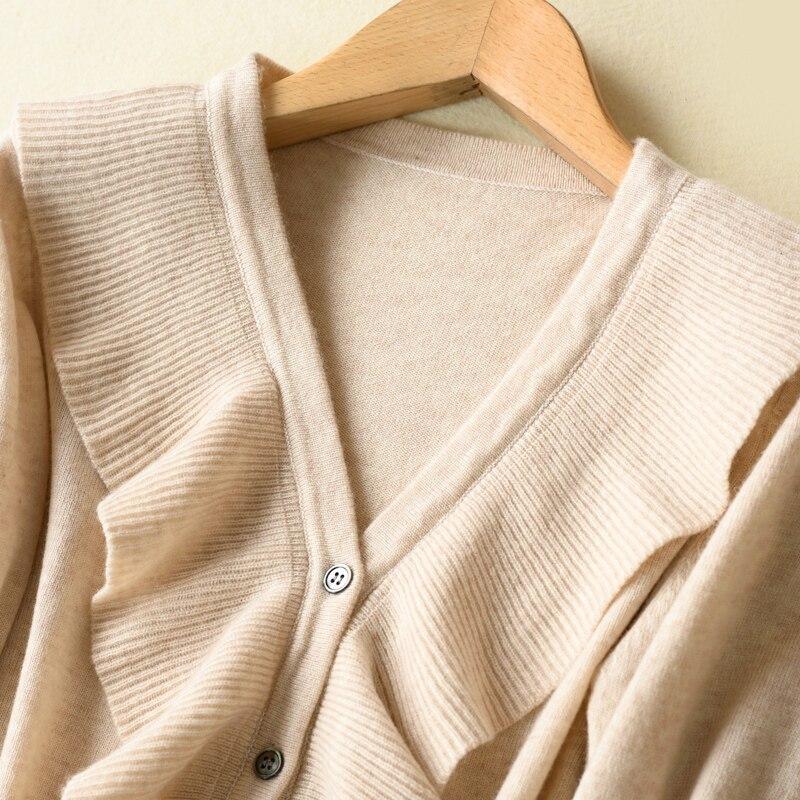 Vestiti il Moda Puro colore Cashmere 100 Delle Nero yan Autunno Donne Mai Manica Rosa V 2018 Knit Cardigan Lunga Scollo A Tang Alla Caldi jiao Beige fYUqw6d
