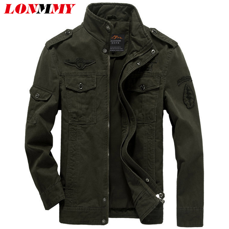 LONMMY Bomber jacket men coat Thick Velvet Cotton Military style ...