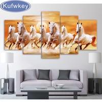 Sunset White Horses Running 5pc DIY Diamond Painting Crystal Square Rhinestone Pasting Home Decor Painting 3d